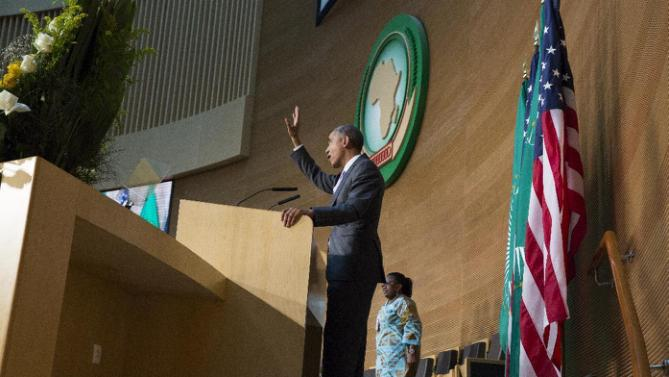 U.S. President Barack Obama waves after delivering a speech to the African Union, Tuesday, July 28, 2015, in Addis Ababa, Ethiopia. On the final day of his African trip, Obama is focusing on economic opportunities and African security. (AP Photo/Evan Vucci)