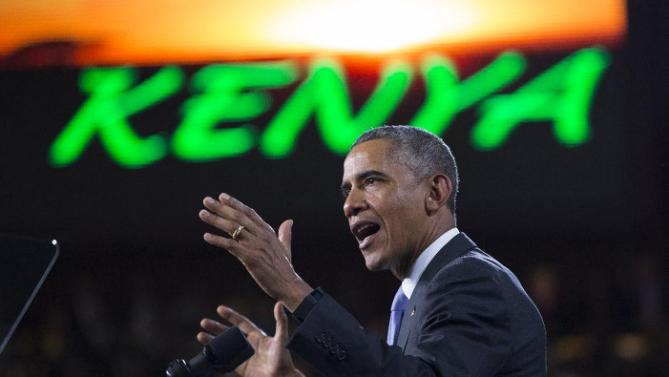 President Barack Obama delivers a speech at Safaricom Indoor Arena, on Sunday, July 26, 2015, in Nairobi. On the final day of his visit in Kenya, Obama laid out his vision for Kenya's future, and broad themes of U.S.-Kenya relations. (AP Photo/Evan Vucci)