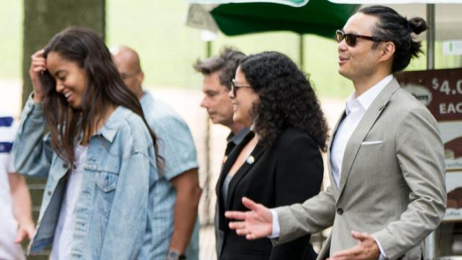 Maya Soetoro-Ng, the sister of President Barack Obama, center, and her husband Konrad Ngwalk, right, and Obama's daughter Malia Obama, left, accompany the president through Central Park, Saturday, July 18, 2015, in New York. Obama is spending a mainly personal weekend with his daughters in New York City. (AP Photo/Andrew Harnik)
