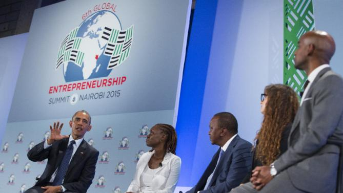 President Barack Obama, left, takes part in a panel discussion at the Global Entrepreneurship Summit at the United Nations Compound. Saturday, July 25, 2015, in Nairobi. Obama's visit to Kenya is focused on trade and economic issues, as well as security and counterterrorism cooperation.  (AP Photo/Evan Vucci)