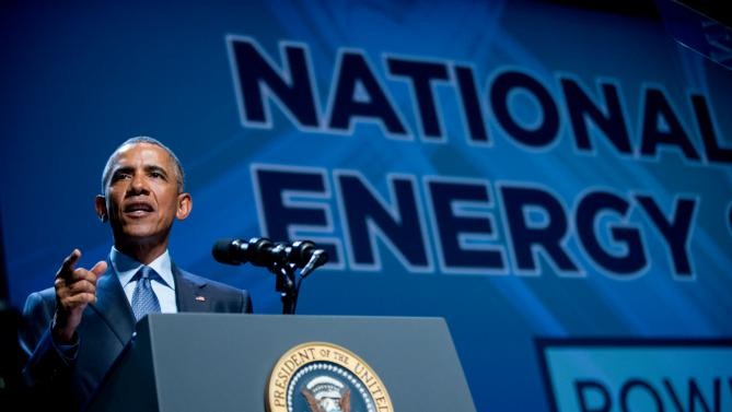 President Barack Obama speaks at the National Clean Energy Summit at the Mandalay Bay Resort Convention Center, Monday, Aug. 24, 2015, in Las Vegas. The President used the speech to announce a set of executive actions and private sector commitments to accelerate America's transition to cleaner sources of energy and ways to cut energy waste. (AP Photo/Andrew Harnik)