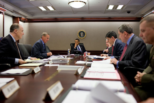President Barack Obama listens to National Security Advisor General James Jones, second from left, during a meeting in the Situation Room of the White House, August 13, 2009. (Official White House Photo by Pete Souza) This official White House photograph is being made available only for publication by news organizations and/or for personal use printing by the subject(s) of the photograph. The photograph may not be manipulated in any way and may not be used in commercial or political materials, advertisements, emails, products, promotions that in any way suggests approval or endorsement of the President, the First Family, or the White House.