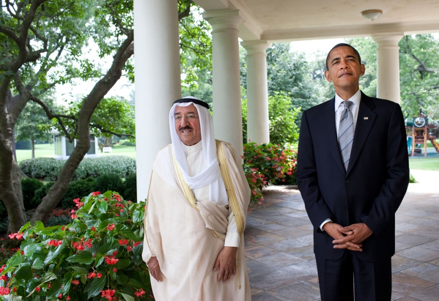 President Barack Obama meets with Al-Ahmad Al-Jaber Al-Sabah, the Amir of Kuwait, outside the Oval Office, August 3, 2009.  (Official White House Photo by Pete Souza) This official White House photograph is being made available only for publication by news organizations and/or for personal use printing by the subject(s) of the photograph. The photograph may not be manipulated in any way and may not be used in commercial or political materials, advertisements, emails, products, promotions that in any way suggests approval or endorsement of the President, the First Family, or the White House.