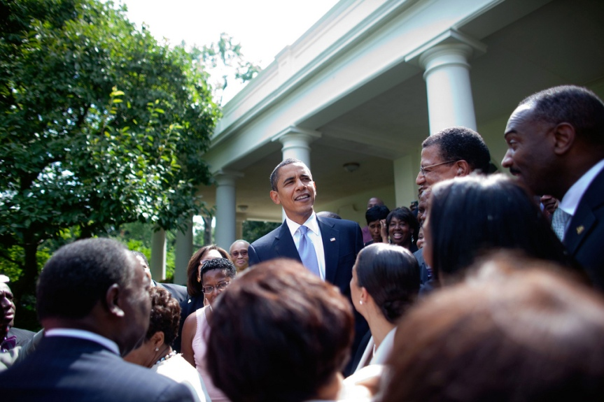 President Barack Obama greets group and poses for a photo in the Rose Garden of the White House, August 5, 2009.  ( Official White House Photo by Lawrence Jackson) This official White House photograph is being made available only for publication by news organizations and/or for personal use printing by the subject(s) of the photograph. The photograph may not be manipulated in any way and may not be used in commercial or political materials, advertisements, emails, products, promotions that in any way suggests approval or endorsement of the President, the First Family, or the White House.