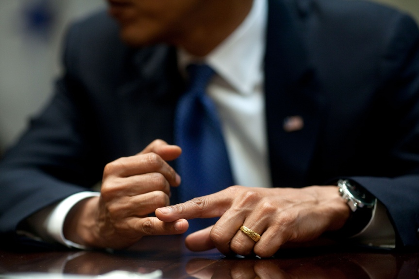 President Barack Obama gestures during a roundtable discussion with Hispanic Print and web media in the Roosevelt Room of the White House, August 7, 2009.   (Official White House Photo by Pete Souza) This official White House photograph is being made available only for publication by news organizations and/or for personal use printing by the subject(s) of the photograph. The photograph may not be manipulated in any way and may not be used in commercial or political materials, advertisements, emails, products, promotions that in any way suggests approval or endorsement of the President, the First Family, or the White House.