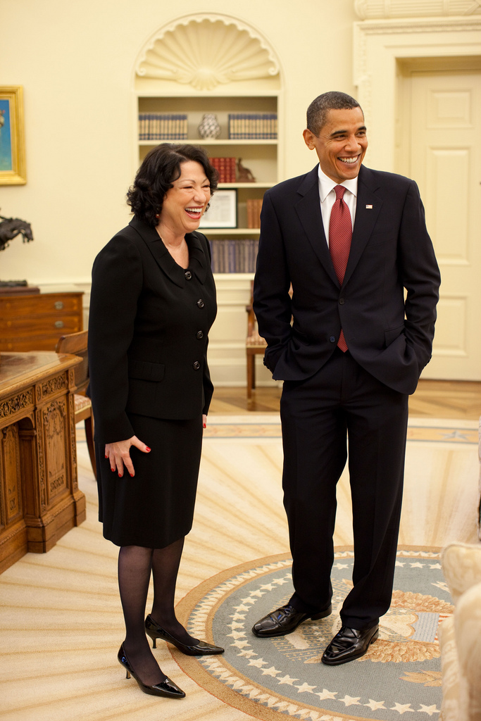 President Barack Obama and Justice Sonia Sotomayor meet in the Oval Office prior to a reception for the new Supreme Court Justice at the White House, August 12, 2009. (Official White House Photo by Pete Souza) This official White House photograph is being made available only for publication by news organizations and/or for personal use printing by the subject(s) of the photograph. The photograph may not be manipulated in any way and may not be used in commercial or political materials, advertisements, emails, products, promotions that in any way suggests approval or endorsement of the President, the First Family, or the White House.