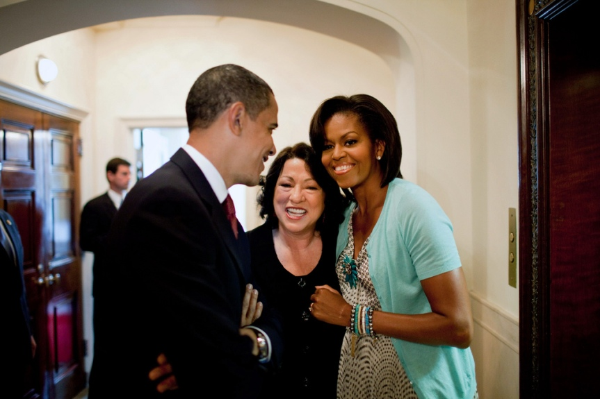 President Barack Obama and First Lady Michelle Obama with Justice Sonia Sotomayor prior to a reception for the new Supreme Court Justice at the White House, August 12, 2009. (Official White House Photo by Pete Souza) This official White House photograph is being made available only for publication by news organizations and/or for personal use printing by the subject(s) of the photograph. The photograph may not be manipulated in any way and may not be used in commercial or political materials, advertisements, emails, products, promotions that in any way suggests approval or endorsement of the President, the First Family, or the White House.