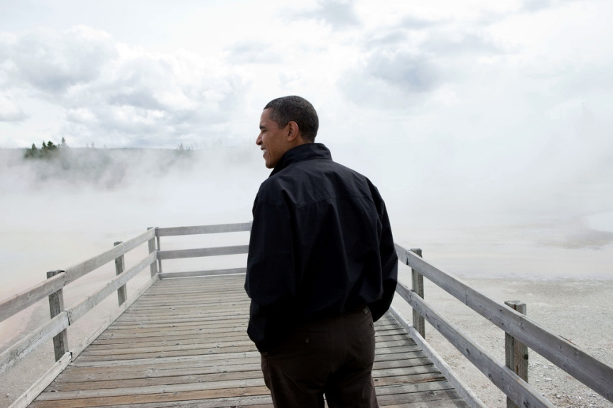 President Barack Obama visits Sunset Lake in Yellowstone National Park, August 15, 2009. (Official White House photo by Pete Souza) This official White House photograph is being made available only for publication by news organizations and/or for personal use printing by the subject(s) of the photograph. The photograph may not be manipulated in any way and may not be used in commercial or political materials, advertisements, emails, products, promotions that in any way suggests approval or endorsement of the President, the First Family, or the White House.