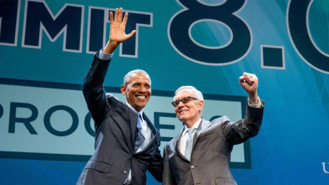 President Barack Obama greets Senate Minority Leader Sen. Harry Reid of Nev., after giving remarks at the National Clean Energy Summit at the Mandalay Bay Resort Convention Center, Monday, Aug. 24, 2015, in Las Vegas. The President used the speech to announce a set of executive actions and private sector commitments to accelerate America's transition to cleaner sources of energy and ways to cut energy waste. (AP Photo/Andrew Harnik)