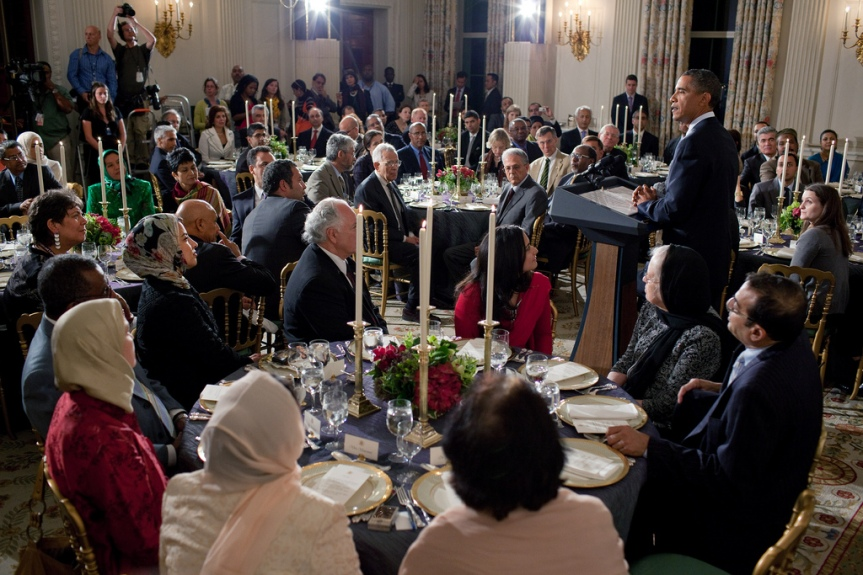 President Barack Obama delivers remarks during an Iftar dinner celebrating Ramadan in the State Dining Room of the White House, Aug. 13, 2010. (Official White House Photo by Pete Souza) This official White House photograph is being made available only for publication by news organizations and/or for personal use printing by the subject(s) of the photograph. The photograph may not be manipulated in any way and may not be used in commercial or political materials, advertisements, emails, products, promotions that in any way suggests approval or endorsement of the President, the First Family, or the White House.