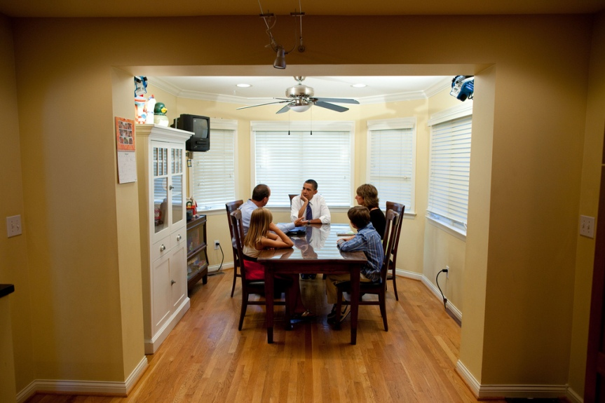President Barack Obama meets the Weithman family: Joe, Rhonda, and their children, Rachel, 9, and Josh, 11, in their home in Columbus, Ohio, Aug. 18, 2010. (Official White House Photo by Pete Souza) This official White House photograph is being made available only for publication by news organizations and/or for personal use printing by the subject(s) of the photograph. The photograph may not be manipulated in any way and may not be used in commercial or political materials, advertisements, emails, products, promotions that in any way suggests approval or endorsement of the President, the First Family, or the White House.