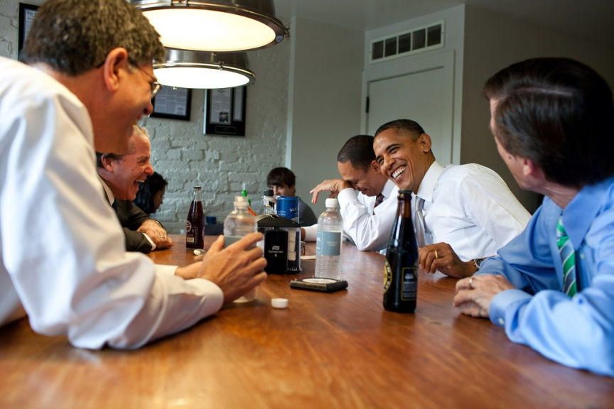 President Barack Obama has lunch at Good Stuff Eatery in Washington, D.C., with staff members who worked on the debt negotiations, Aug. 3, 2011. From left are: Office of Management and Budget Director Jack Lew; National Economic Council Director Gene Sperling; Rob Nabors, Assistant to the President for Legislative Affairs; and Bruce Reed, Chief of Staff to the Vice President. (Official White House Photo by Pete Souza) This official White House photograph is being made available only for publication by news organizations and/or for personal use printing by the subject(s) of the photograph. The photograph may not be manipulated in any way and may not be used in commercial or political materials, advertisements, emails, products, promotions that in any way suggests approval or endorsement of the President, the First Family, or the White House.