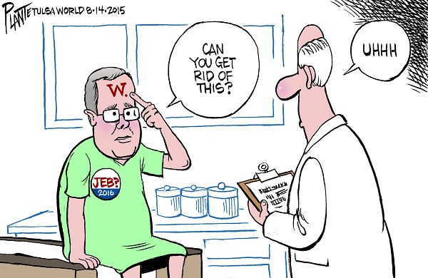 Bruce Plante Cartoon: Jeb's scarlet letter, Governor Jeb Bush, Republican Primary Campaign 2016, Presidential Campaign 2016, President George W. Bush, Iraq, Secretary of State Hillary Clinton, President Barack Obama, Republican Party, RNC, GOP, Plante 20150815