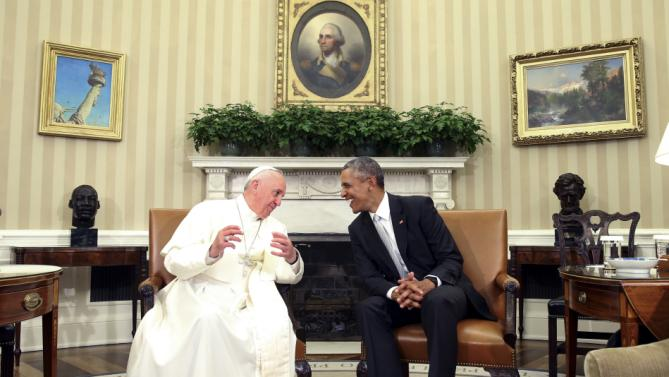 President Barack Obama talks with Pope Francis in the Oval Office of the White House in Washington, Wednesday, Sept. 23, 2015. (AP Photo/Andrew Harnik)