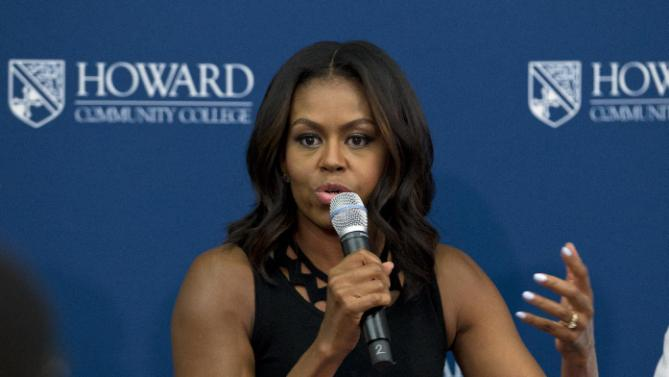 First lady Michelle Obama speaks during a visit to a career and technical training program at Howard Community College as part of her 'Reach Higher' initiative, Thursday, Sept. 17, 2015, in Columbia, Md. (AP Photo/Jose Luis Magana)