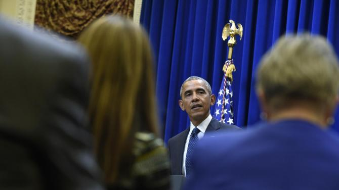 President Barack Obama speaks to a group of state legislators in the Eisenhower Executive Office Building in part of the White House complex in Washington, Wednesday, Sept. 30, 2015. (AP Photo/Susan Walsh)