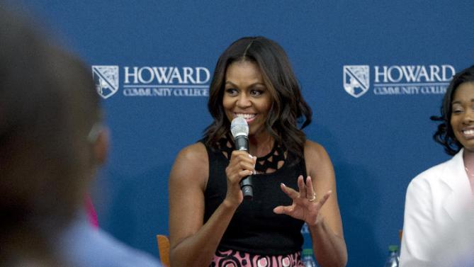 First lady Michelle Obama speaks to students during her visit to a career and technical training program at Howard Community College, in Columbia, Md., Thursday, Sept. 17, 2015. ( AP Photo/Jose Luis Magana)