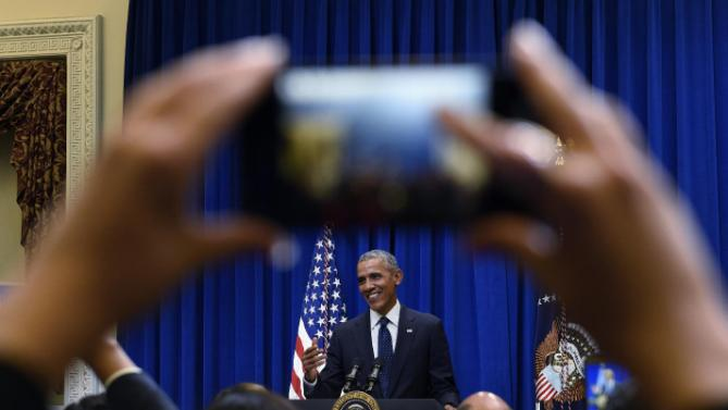President Barack Obama speaks to a groups of state legislators in the Eisenhower Executive Office Building on the White House complex in Washington, Wednesday, Sept. 30, 2015. (AP Photo/Susan Walsh)