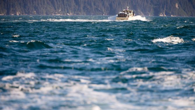 President Barack Obama takes a boat tour to see the effects of global warming at the Kenai Fjords National Park, Tuesday, Sept. 1, 2015, in Seward, Alaska. Obama is on a historic three-day trip to Alaska aimed at showing solidarity with a state often overlooked by Washington, while using its glorious but changing landscape as an urgent call to action on climate change. (AP Photo/Andrew Harnik)