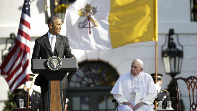 Pope Francis listens as President Barack Obama welcomes him during a state arrival ceremony on the South Lawn of the White House in Washington, Wednesday, Sept. 23, 2015. (AP Photo/Pablo Martinez Monsivais)