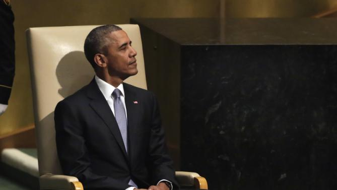 United States President Barack Obama waits to address the 70th session of the United Nations General Assembly, Monday, Sept. 28, 2015. (AP Photo/Richard Drew)