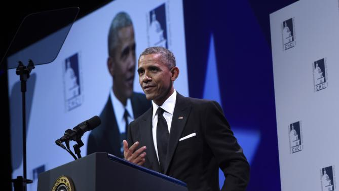 President Barack Obama speaks at the Congressional Hispanic Caucus Institute's (CHCI) 38th Anniversary Awards Gala in Washington, Thursday, Oct. 8, 2015. The Awards Gala is the signature event in its Hispanic Heritage Month list of events that include the Public Policy Conference. (AP Photo/Susan Walsh)