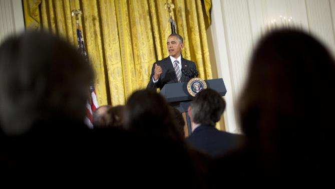 President Barack Obama speaks during White House Summit on Worker Voice, Wednesday, Oct. 7, 2015, in the East Room of the White House in Washington. The summit is an effort to give unions, organizers and some businesses a platform to discuss wages and other issues. (AP Photo/Pablo Martinez Monsivais)