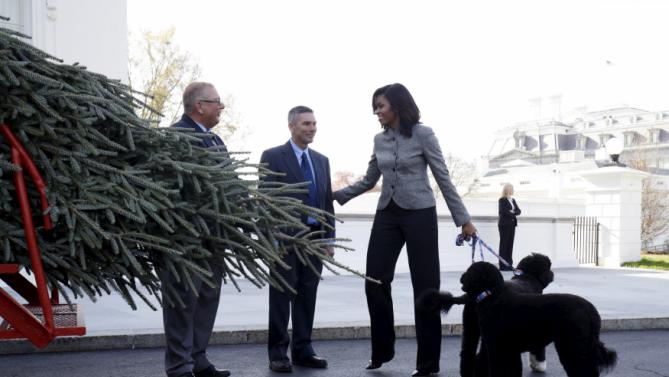 First Lady Michelle Obama walks with her dogs Bo and Sunny as she welcomes the Official White House Christmas Tree to the White House in Washington November 27, 2015. This year's White House Christmas Tree, which will be on display in the Blue Room, is an 18.5-foot Fraser fir grown by Jay (L) and Glenn Bustard in Lansdale, Pennsylvania. REUTERS/Joshua Roberts