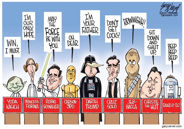 If the candidates dressed up as Star Wars characters, what characters would they be?