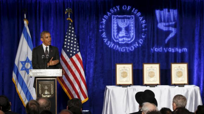 U.S. President Barack Obama speaks at the Righteous Among the Nations Award Ceremony, organised for the first time in the U.S. by Yad Vashem, at the Embassy of Israel in Washington January 27, 2016. REUTERS/Kevin Lamarque