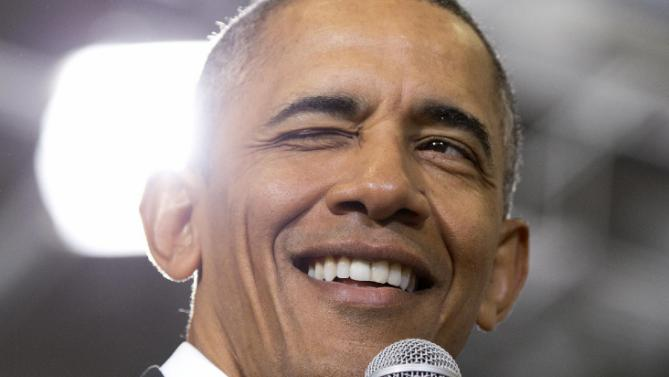 President Barack Obama winks as he speaks during a town hall at McKinley Senior High School in Baton Rouge, La., Thursday, Jan. 14, 2016. After giving his State of the Union address, the president is traveling to tout progress and goals in his final year in office. (AP Photo/Carolyn Kaster)