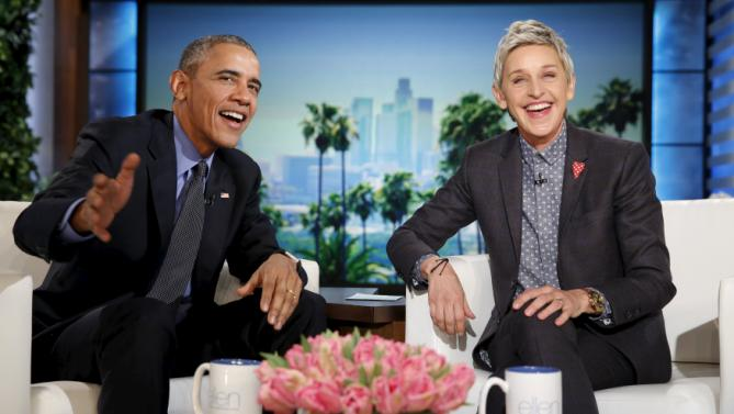 U.S. President Barack Obama appears on a taping of the Ellen DeGeneres Show in Burbank, California February 11, 2016. REUTERS/Kevin Lamarque