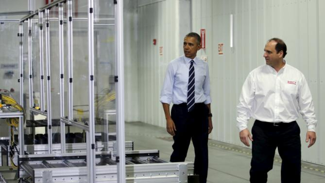U.S. President Barack Obama tours Saft America Advanced Batteries Plant in Jacksonville, Florida February 26, 2016. REUTERS/Carlos Barria