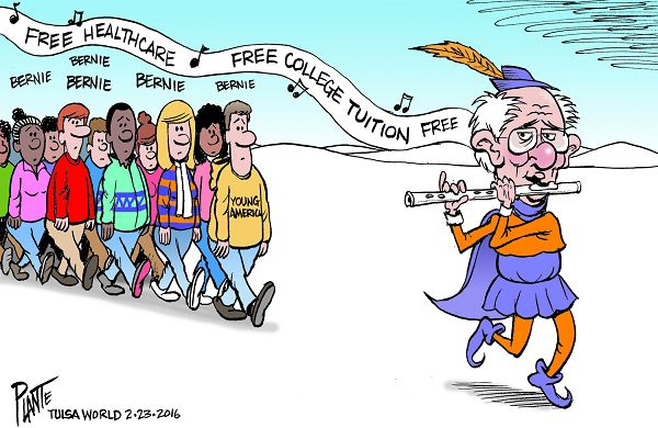 Bruce Plante Cartoon: Bernie and kids nowadays, Democratic Presidential Primary 2016, DNC, Democratic Party, Tulsa Oklahoma, Plante 20160224