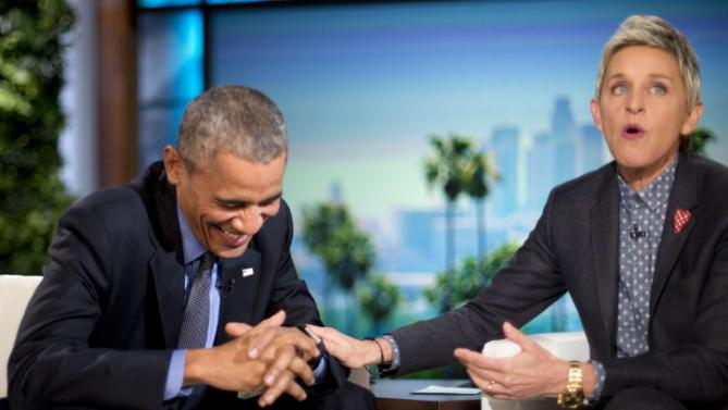 President Barack Obama laughs with Ellen DeGeneres during a commercial break while taping a show segment of the Ellen DeGeneres Show in Burbank, Calif., Thursday, Feb. 11, 2016. (AP Photo/Pablo Martinez Monsivais)