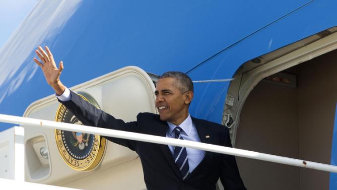 President Barack Obama waves as he boards Air Force One, Friday, Feb. 26, 2016 at Andrews Air Force Base, Md. Obama is traveling to Jacksonville, Fla., to visit Saft America factory, which opened in 2011 with help from federal money from economic stimulus package he pushed through Congress in 2009. (AP Photo/Pablo Martinez Monsivais)