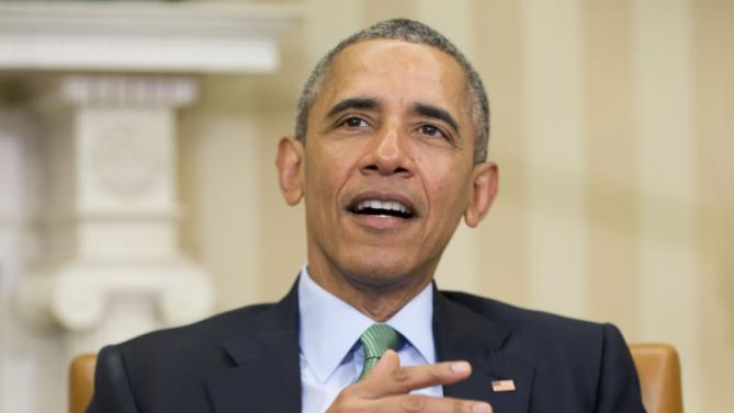 President Barack Obama speaks during his meeting with Irish Prime Minister Enda Kenny in the Oval Office of the White House in Washington, Tuesday, March 15, 2016. (AP Photo/Pablo Martinez Monsivais)
