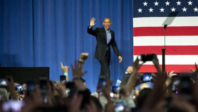 President Barack Obama waves as he is introduced before speaking at DNC fundraiser at the Austin Music Hall in Austin, Texas, Friday, March 11, 2016. Earlier Obama spoke at the South by Southwest Festival (SXSW) and is heading to Dallas later today. (AP Photo/Pablo Martinez Monsivais)