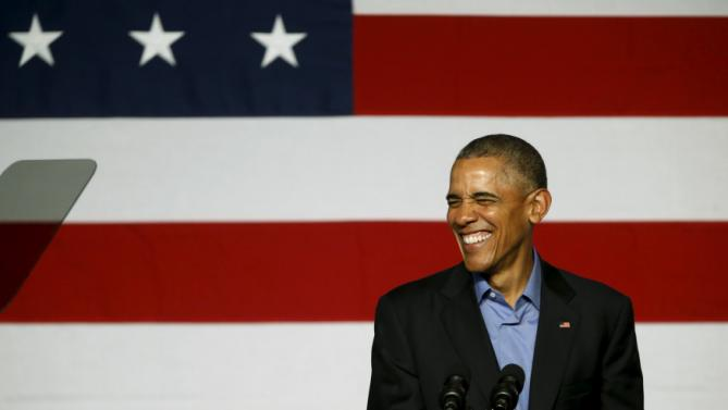 U.S. President Barack Obama smiles during remarks at a Democratic National Committee event in Austin, Texas March 11, 2016. REUTERS/Jonathan Ernst