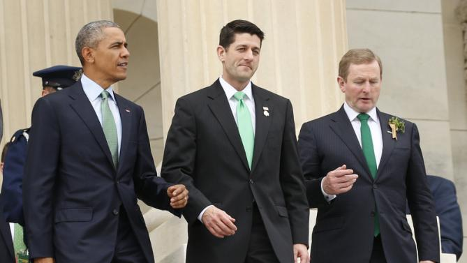 U.S. President Barack Obama, Speaker of the House Paul Ryan (C) and Taoiseach (Irish Prime Minister) Enda Kenny (R) walk down the U.S. Capitol steps after attending the Friends of Ireland luncheon in Washington March 15, 2016. REUTERS/Kevin Lamarque