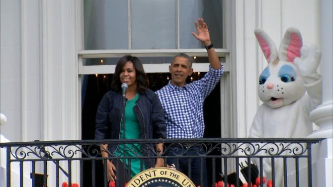 U.S. President Barack Obama and First Lady Michelle host their final Easter egg roll at the White House and do a little Whip/Nae Nae. Rough Cut (no reporter narration).
