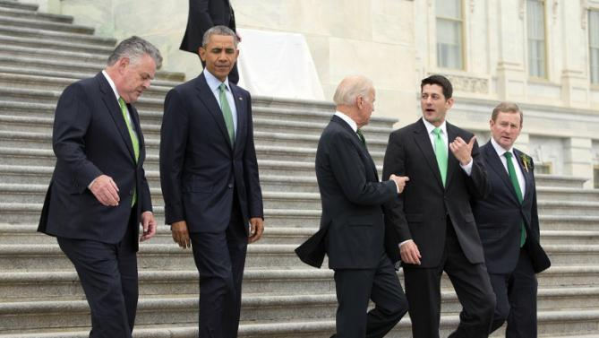 "President Barack Obama, walks down the steps of the Capitol in Washington, Tuesday, March 15, 2016, with from left, Rep. Peter King, R-N.Y., Vice President Joe Biden, House Speaker Paul Ryan of Wis., and Irish Prime Minister Enda Kenny, after attending a ""Friends of Ireland"" luncheon. (AP Photo/Pablo Martinez Monsivais)"