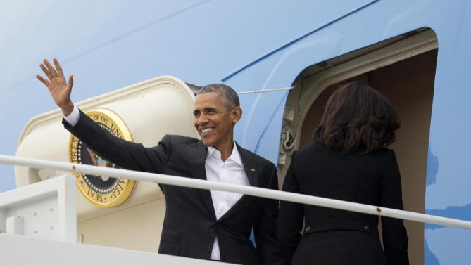 President Barack Obama boards Air Force One, Sunday, March 20, 2016, at Andrews Air Force Base, Md. Obama and his family are traveling to Cuba, the first U.S. president to visit the island in nearly 90 years. (AP Photo/Pablo Martinez Monsivais)