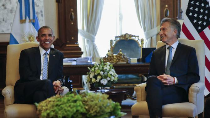 President Barack Obama meets with Argentine President Mauricio Macri, Wednesday, March 23, 2016, at the Casa Rasada in Buenos Aires, Argentina. (AP Photo/Pablo Martinez Monsivais)