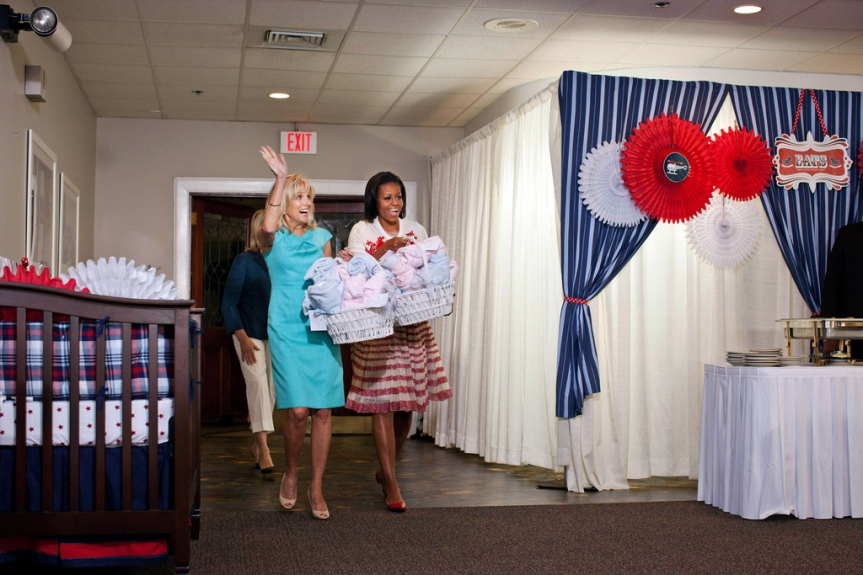First Lady Michelle Obama, Dr. Jill Biden and Martha Stewart drop by Operation Shower, a celebration for pregnant women whose husbands are service members, at Camp Lejeune, North Carolina, April 13, 2011. The event was part of the launch of Joining Forces, a national initiative to support and honor America's service members and their families. (Official White House Photo by Chuck Kennedy) This official White House photograph is being made available only for publication by news organizations and/or for personal use printing by the subject(s) of the photograph. The photograph may not be manipulated in any way and may not be used in commercial or political materials, advertisements, emails, products, promotions that in any way suggests approval or endorsement of the President, the First Family, or the White House.