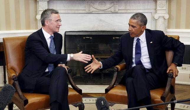 U.S. President Barack Obama meets with NATO Secretary-General Jens Stoltenberg (L) at the White House in Washington, April 4, 2016. REUTERS/Kevin Lamarque