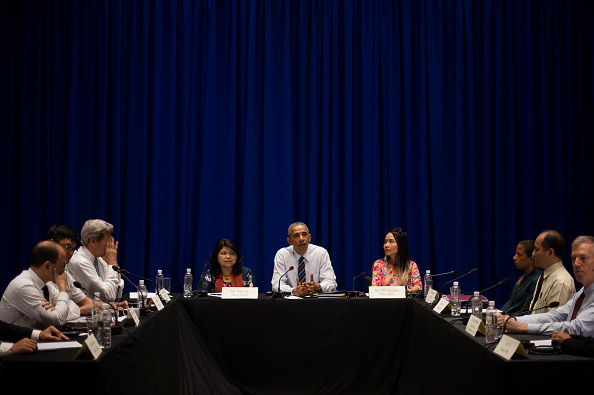 US President Barack Obama meets with members of the civil society in Hanoi on May 24, 2016. Obama, currently on a visit to Vietnam, met with civil society leaders including some of the country's long-harassed critics on May 24. The visit is Obama's first to the country -- and the third by a sitting president since the end of the Vietnam War in 1975. / AFP / JIM WATSON (Photo credit should read JIM WATSON/AFP/Getty Images)