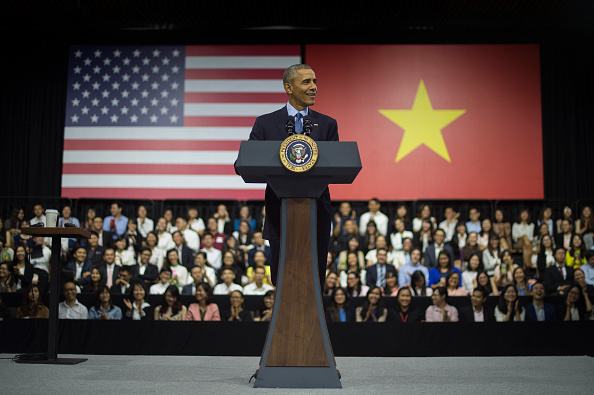 US President Barack Obama speaks at the Young Southeast Asian Leaders Initiative town hall event in Ho Chi Minh City on May 25, 2016. Obama urged communist Vietnam on May 24 to abandon authoritarianism, saying basic human rights would not jeopardise its stability, after Hanoi barred several dissidents from meeting the US leader. / AFP / JIM WATSON (Photo credit should read JIM WATSON/AFP/Getty Images)