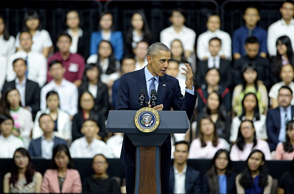US President Barack Obama (C) speaks at a Young Southeast Asian Leaders Initiative town hall event in Ho Chi Minh City on May 25, 2016. Obama fielded questions on May 25 on everything from rap and weed smoking to leadership and his good looks at a lively town hall-style meeting with young Vietnamese, who say the US leader is a far cry from their staid Communist rulers. / AFP / CHRISTOPHE ARCHAMBAULT (Photo credit should read CHRISTOPHE ARCHAMBAULT/AFP/Getty Images)