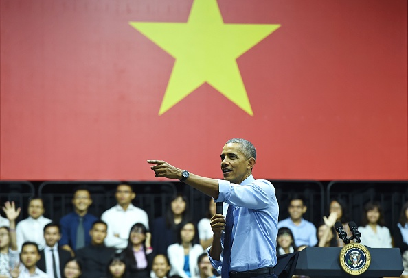 US President Barack Obama speaks at a Young Southeast Asian Leaders Initiative town hall event in Ho Chi Minh City on May 25, 2016. Obama fielded questions on May 25 on everything from rap and weed smoking to leadership and his good looks at a lively town hall-style meeting with young Vietnamese, who say the US leader is a far cry from their staid Communist rulers. / AFP / CHRISTOPHE ARCHAMBAULT (Photo credit should read CHRISTOPHE ARCHAMBAULT/AFP/Getty Images)
